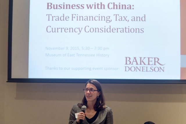 TN-China Network (TNCN) Executive Director Elizabeth Rowland welcoming attendees to the TNCN - US Bank November 2015 event in Knoxville on Trade Financing, Tax, and Currency Considerations (Photo by Saul Young for the Knoxville Business Journal - see first link)
