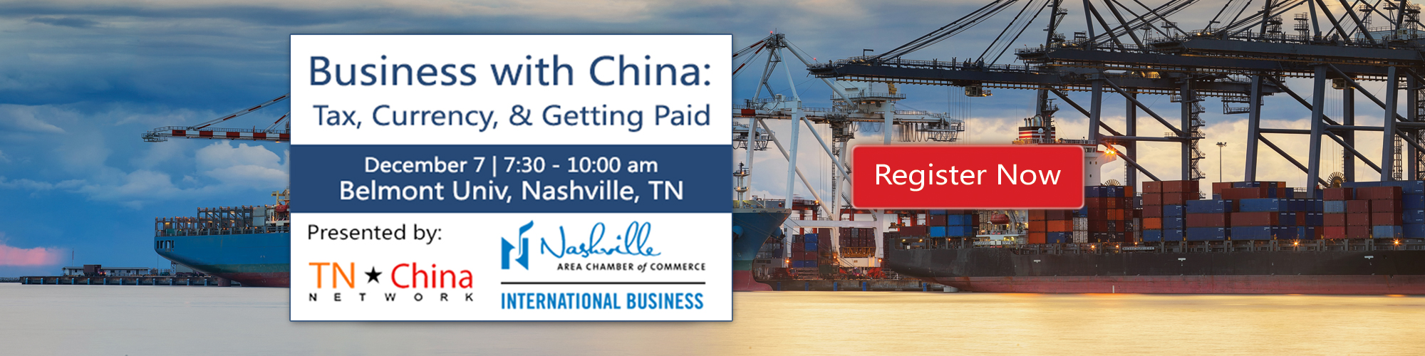Business with China: Tax, Currency, & Getting Paid Seminar Announcement
