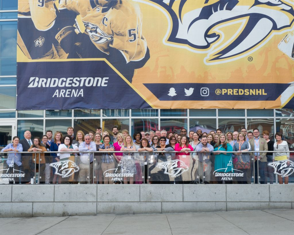 The TBEDC group during their tour of Bridgestone Arena in downtown Nashville.